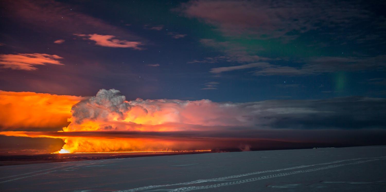 Bardarbunga with northern lights