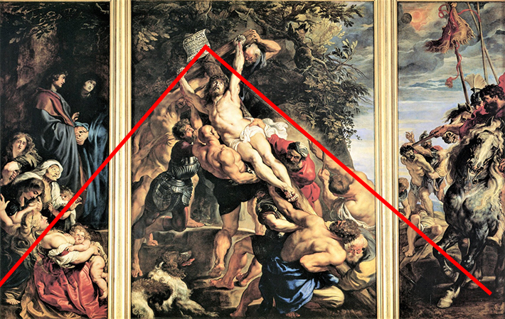 Raising of the Cross by Rubens - Triangular Composition
